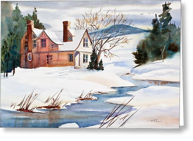 Snowy Stream Greeting Cards - On a Winters Day Watercolor Painting Greeting Card by Michelle Wiarda
