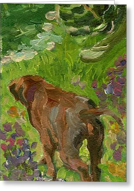 Puppies Paintings Greeting Cards - On An Adventure Greeting Card by Sheila Wedegis