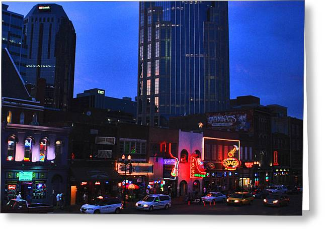 Glass Facades Greeting Cards - On Broadway in Nashville Greeting Card by Susanne Van Hulst