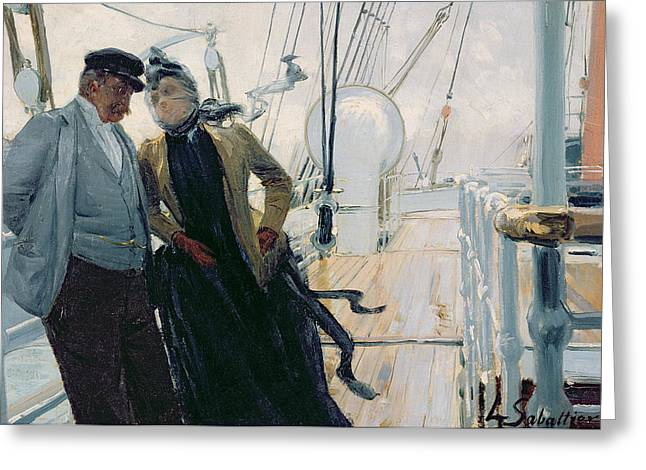 Friend Ship Greeting Cards - On Deck Greeting Card by Louis Anet Sabatier