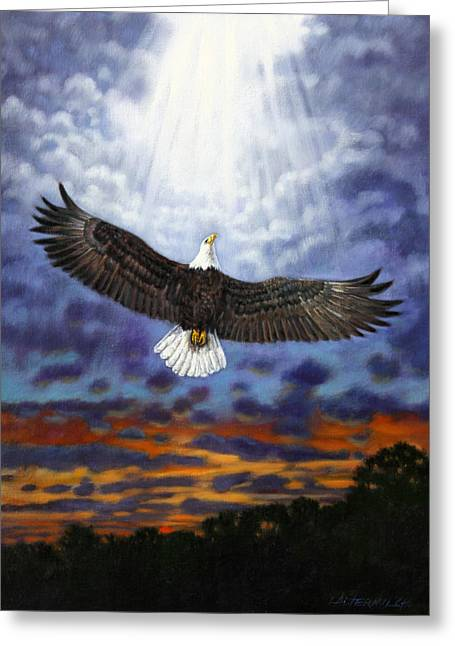Eagle In Flight Greeting Cards - On Eagles Wings Greeting Card by John Lautermilch
