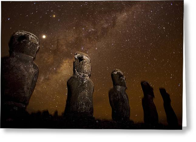 Best Sellers -  - Monolith Greeting Cards - On Easter Island, Mysterious Statues Greeting Card by Stephen Alvarez
