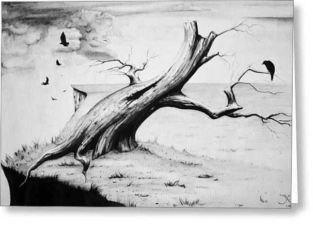 Tree Roots Drawings Greeting Cards - On Edge Greeting Card by Suzanne Roach