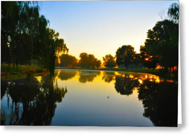 Amish Greeting Cards - On Golden Pond Greeting Card by Bill Cannon