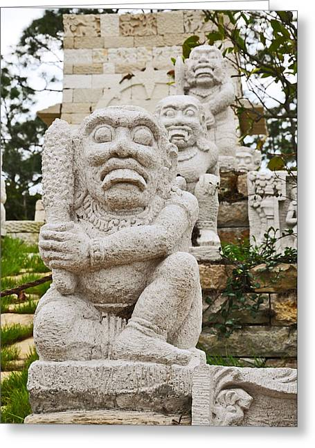 Garden Statuary Greeting Cards - On Guard Greeting Card by Christine Stonebridge
