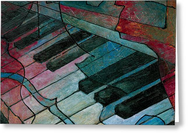 Keyboard Greeting Cards - On Key - Keyboard Painting Greeting Card by Susanne Clark