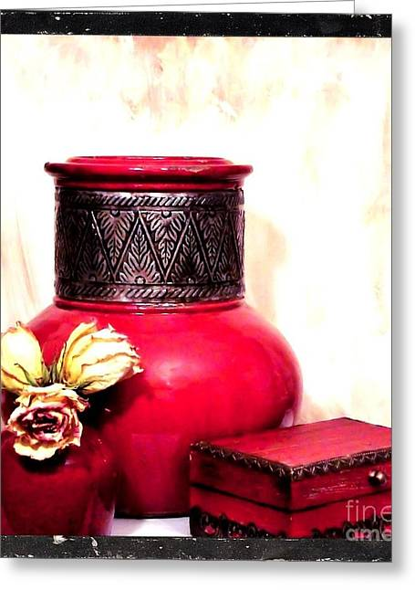 Photos With Red Digital Greeting Cards - On Mammas Dresser Greeting Card by Marsha Heiken