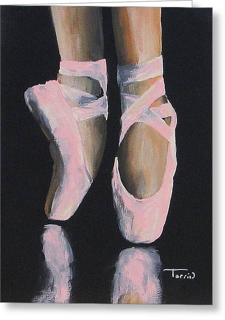 Ballet Dancers Paintings Greeting Cards - On Point  Greeting Card by Torrie Smiley