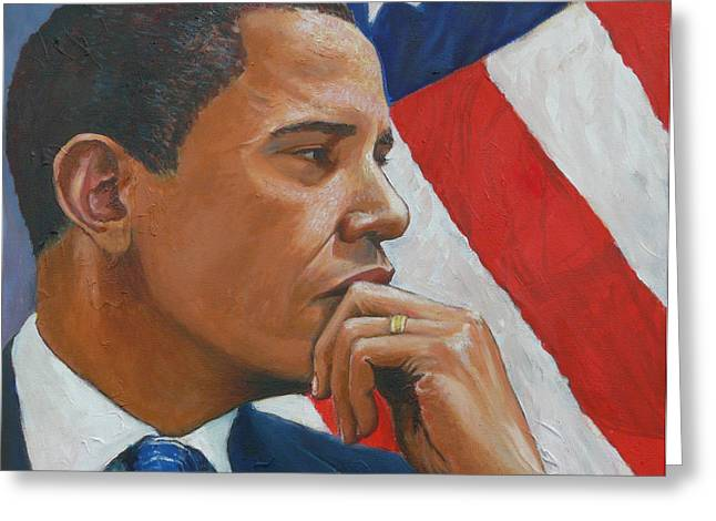 Obama President Greeting Cards - On Reflection Greeting Card by Tomas OMaoldomhnaigh