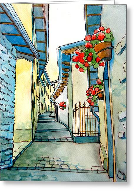 Small Towns Drawings Greeting Cards - on small streets of the city of Fiumalbo-2 Greeting Card by Khromykh Natalia