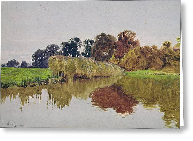 Cole Paintings Greeting Cards - On the Arun Stoke Sussex  Greeting Card by George Vicat Cole