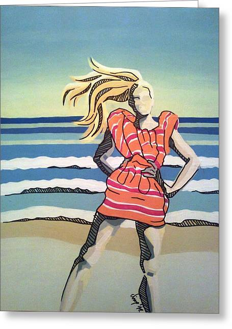 Model On Beach Greeting Cards - On The Beach 2 Greeting Card by Nina Sestanovic