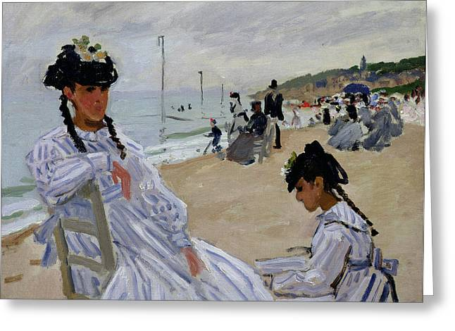 Umbrella Greeting Cards - On the Beach at Trouville Greeting Card by Claude Monet