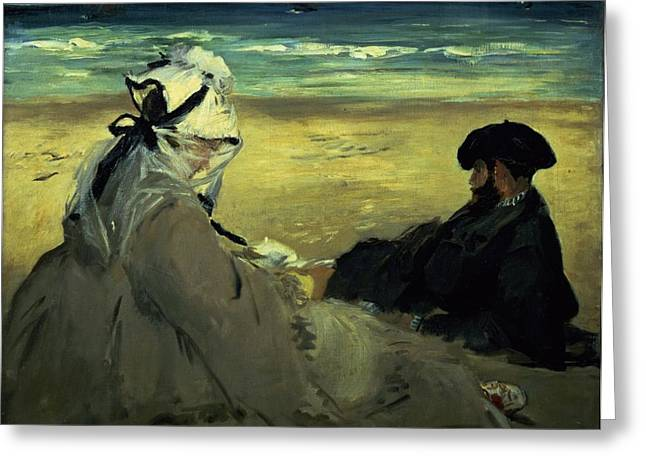 Beret Greeting Cards - On the Beach Greeting Card by Edouard Manet
