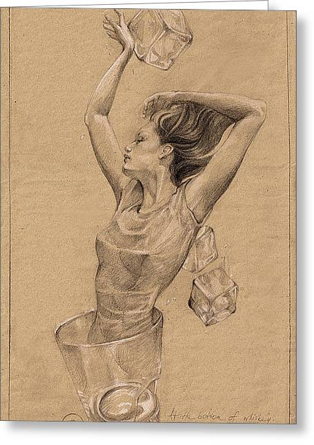 Cosmopolitan Drawings Greeting Cards - On The Bottom Of Whiskey Greeting Card by Satine Zillah