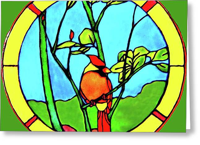 Yellows Glass Art Greeting Cards - On The Branch Greeting Card by Farah Faizal
