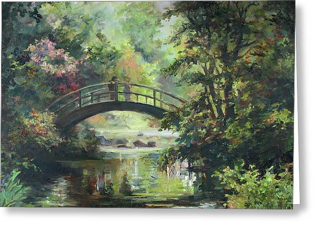 Impressionistic Greeting Cards - On the bridge Greeting Card by Tigran Ghulyan