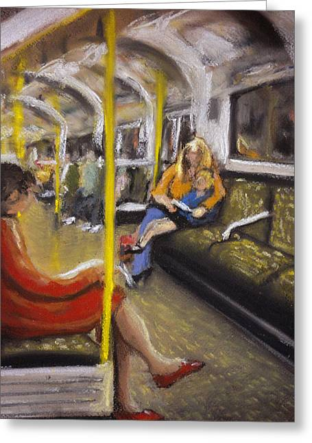 London Pastels Greeting Cards - On The Central Line Greeting Card by Paul Mitchell