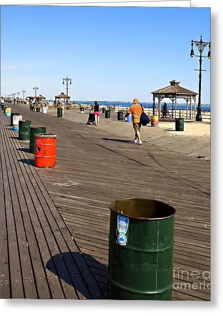 York Beach Greeting Cards - On the Coney Island Boardwalk Greeting Card by Madeline Ellis