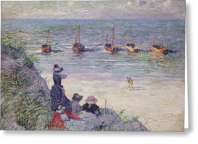 Lounge Greeting Cards - On the Dunes Greeting Card by Theo van Rysselberghe