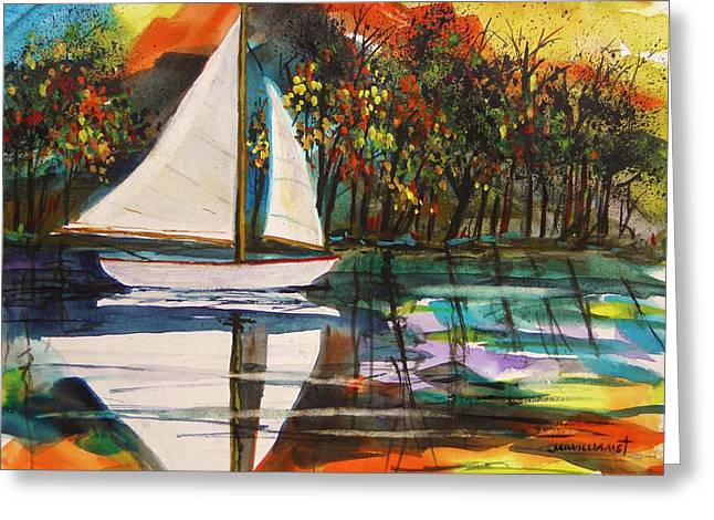 Jmwportfolio Drawings Greeting Cards - On the Lake at Night Greeting Card by John  Williams