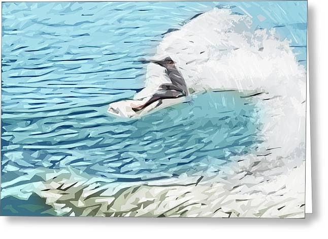Surfer Art Digital Art Greeting Cards - On the Lip Greeting Card by Tilly Williams