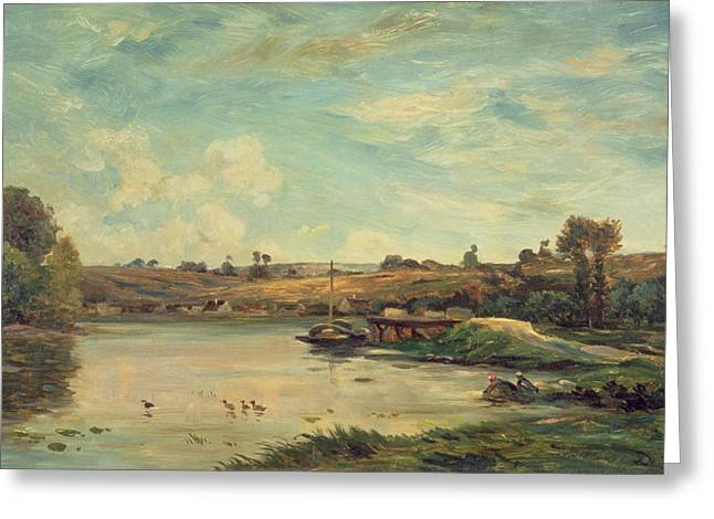 1817 Greeting Cards - On the Loire Greeting Card by Charles Francois Daubigny