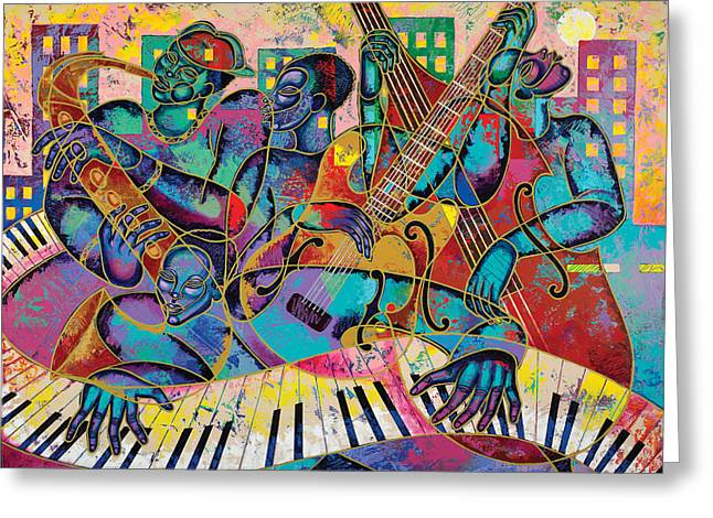 African-american Paintings Greeting Cards - On The Main Stage Greeting Card by Larry Poncho Brown