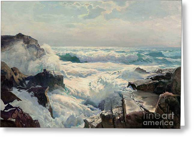 Maine Shore Paintings Greeting Cards - On The Maine Coast Greeting Card by Pg Reproductions