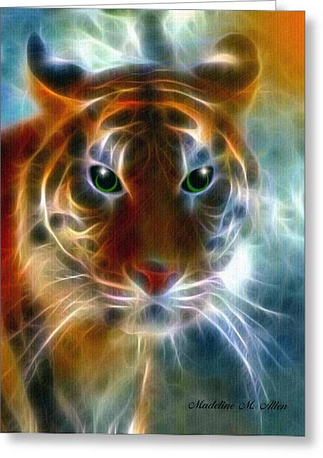 Surrealism Pyrography Greeting Cards - On The Prowl Greeting Card by Madeline  Allen - SmudgeArt
