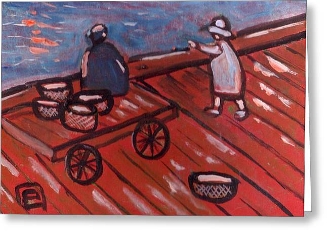 Primitive Pastels Greeting Cards - On the quayside with grandad Greeting Card by Peter  McPartlin