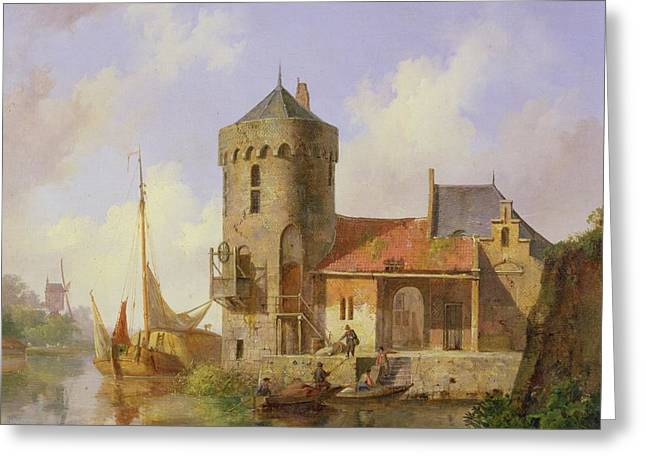 Boarding Greeting Cards - On the Rhine Greeting Card by Cornelius Springer