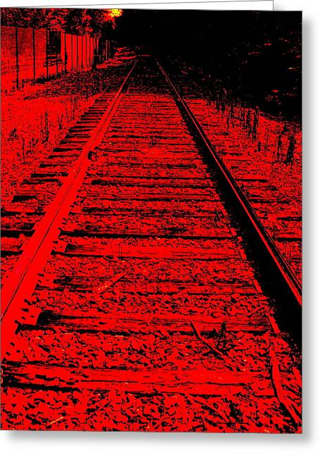 Art Product Mixed Media Greeting Cards - On the Right Track Greeting Card by Debra  Barrington