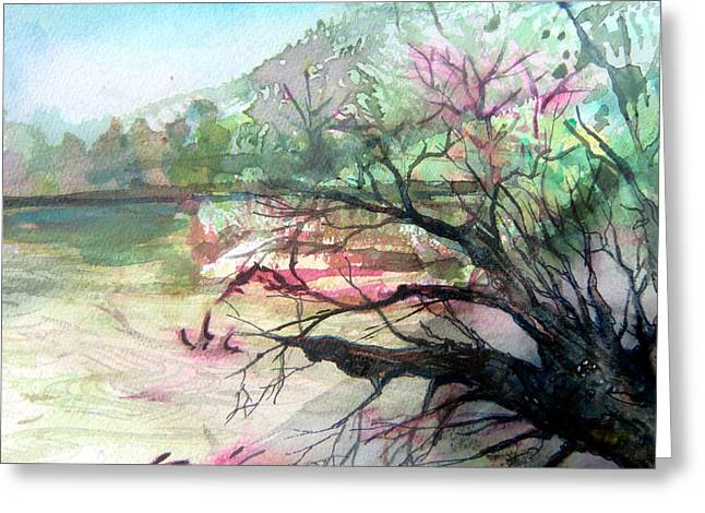 Beach Prints Drawings Greeting Cards - On the River Greeting Card by Mindy Newman