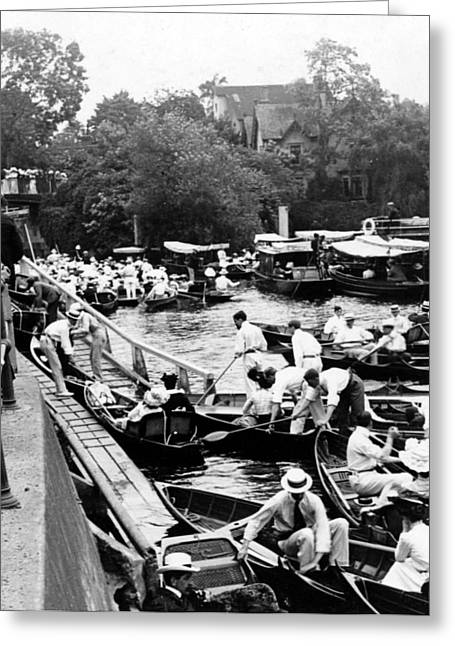 White River Scene Greeting Cards - On The River Thames - waiting for the locks to open - c 1902 Greeting Card by International  Images