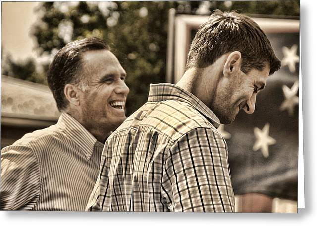 Vice President Photographs Greeting Cards - On the Road-Mitt Romney Greeting Card by Joann Vitali