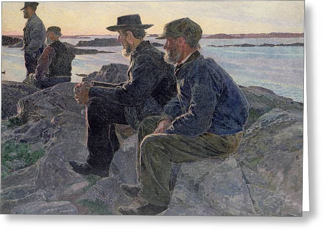 Fishing Hat Greeting Cards - On the Rocks at Fiskebackskil Greeting Card by Carl Wilhelm Wilhelmson