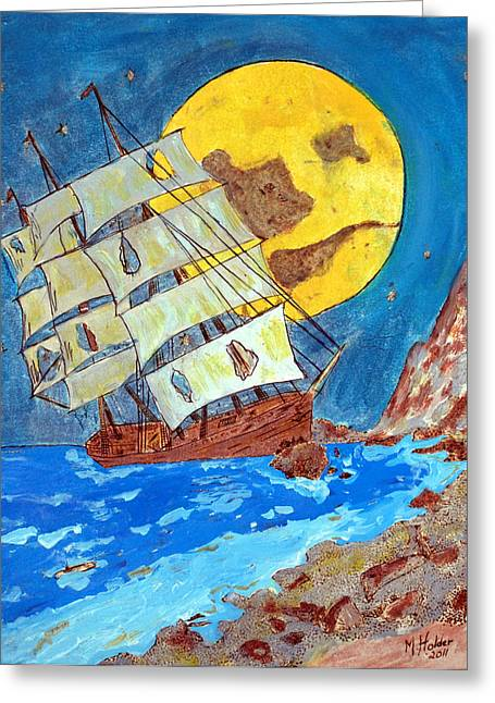 Woodburn Pyrography Greeting Cards - On The Rocks Greeting Card by Mike Holder