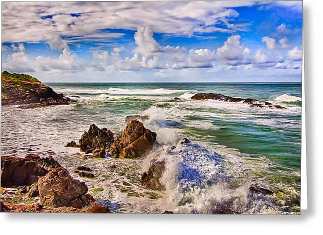 Tropical Photographs Paintings Greeting Cards - On The Rocks Greeting Card by Nadia Sanowar