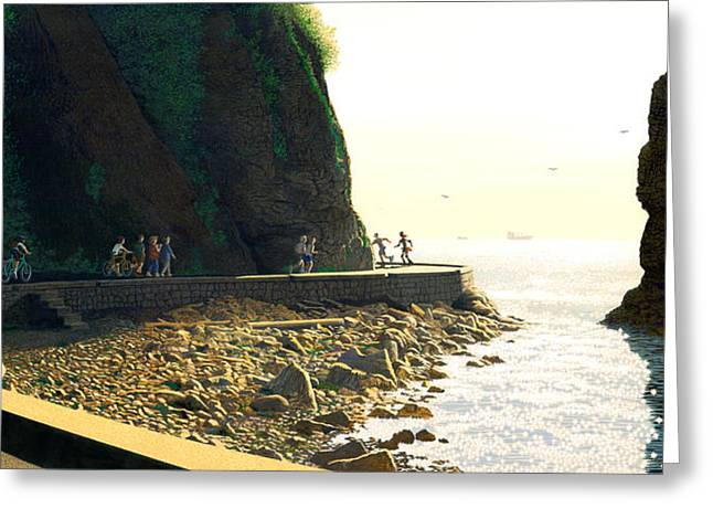 Burrard Inlet Greeting Cards - On the Seawall  Stanley Park Greeting Card by Neil Woodward