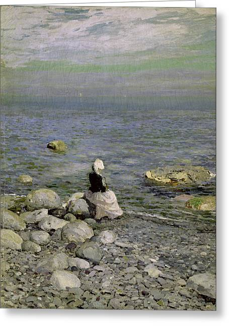 Pebbles Greeting Cards - On the Shore of the Black Sea Greeting Card by Konstantin Alekseevich Korovin
