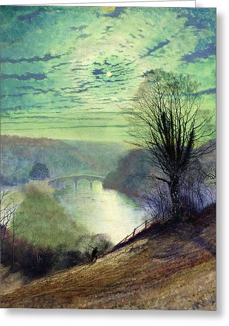 Riverscapes Greeting Cards - On the Tees near Barnard Castle Greeting Card by John Atkinson Grimshaw