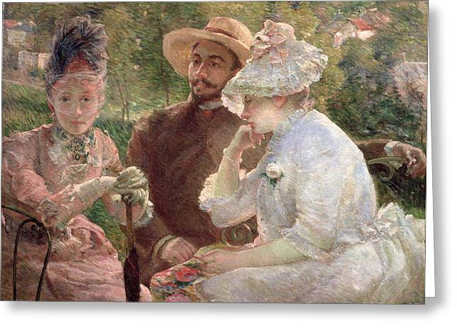 Veiled Greeting Cards - On the terrace at Sevres Greeting Card by Marie Bracquemond