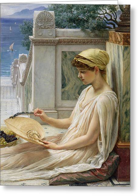Pensive Greeting Cards - On the Terrace Greeting Card by Sir Edward John Poynter