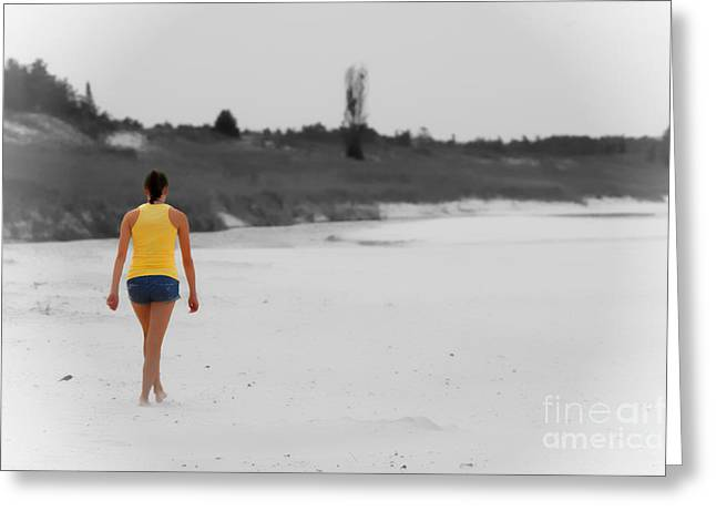 Walk On The Beach Greeting Cards - On The Way to Tomorrow no text Greeting Card by Cathy  Beharriell