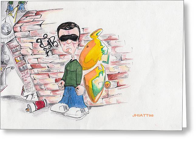 Ghetto Drawings Greeting Cards - On top of the world Greeting Card by Justin Hiatt