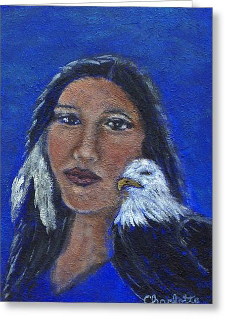 Charlotte Paintings Greeting Cards - Onawa Native American Woman of Wisdom Greeting Card by The Art With A Heart By Charlotte Phillips