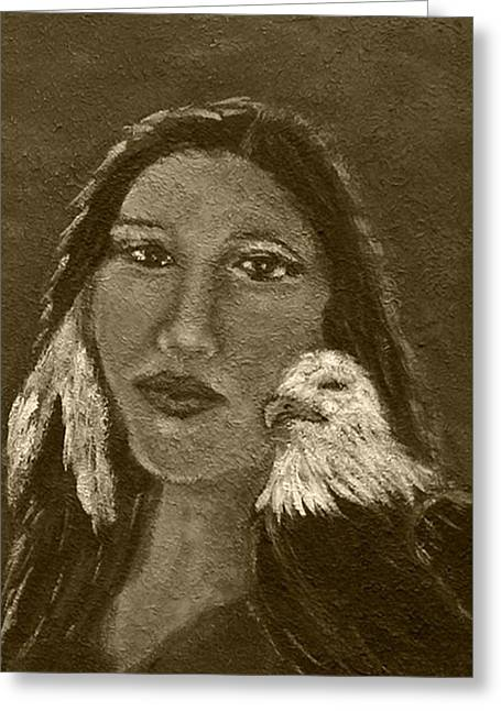 Spiritual Portrait Of Woman Paintings Greeting Cards - Onawa Native American Woman of Wisdom with Eagle In Sepia Greeting Card by The Art With A Heart By Charlotte Phillips