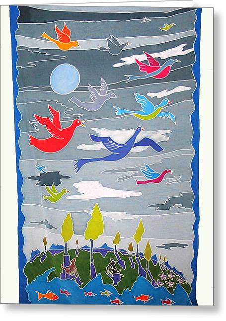 Earth Tapestries - Textiles Greeting Cards - Once In A Blue Moon Greeting Card by Rollin Kocsis