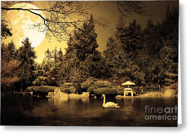 Mothersday Greeting Cards - Once Upon A Time Under The Moon Lit Night . Golden Cut . 7D12782 Greeting Card by Wingsdomain Art and Photography